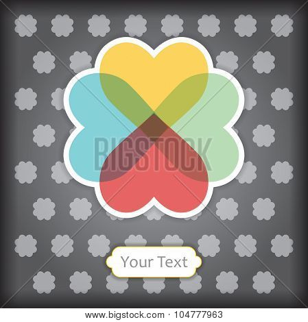 Creting Card Template. Floral Heart Symbol