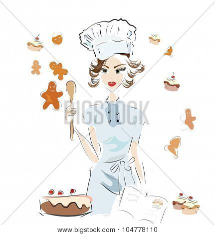 Baker Chef with a Recipe Book