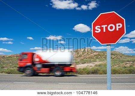 Stop traffic sign with blue sky.