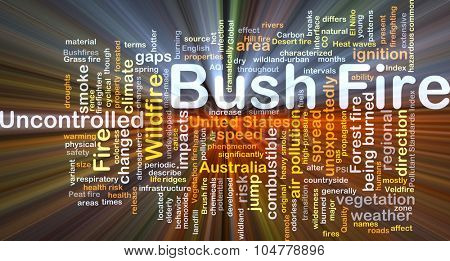 Background concept wordcloud illustration of bush fire glowing light