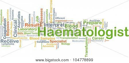 Background concept wordcloud illustration of haematologist