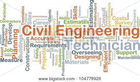 Background concept wordcloud illustration of civil engineering technician