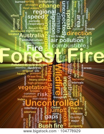 Background concept wordcloud illustration of forest fire glowing light