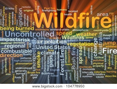 Background concept wordcloud illustration of wildfire glowing light