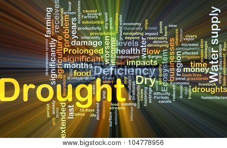Background concept wordcloud illustration of drought glowing light