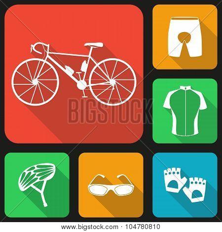 Set of flat icons of bicycle uniform