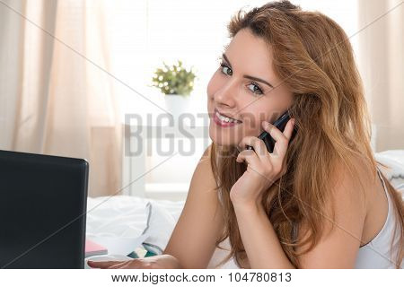 Beautiful Smiling Woman Taling On Phon