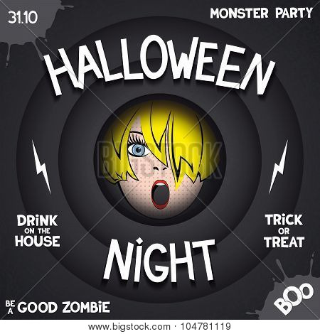 Retro poster for Halloween party