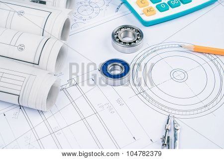 Construction Drawings Slide Caliper Roller Bearings On Blueprint Architecture And Building Concept.