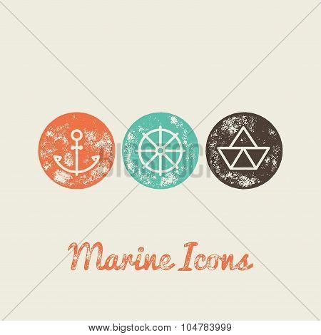 Anchor, Boat, Helm Marine Retro Icons