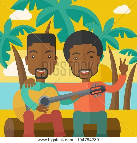Two happy african-american men sitting on a log playing a guitar at the beach under palm trees vector flat design illustration. Square layout.