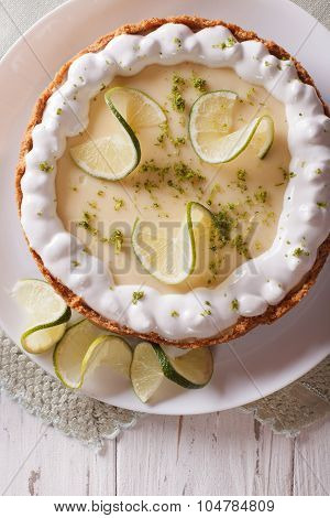 Key Lime Pie With Whipped Cream Close-up. Vertical Top View
