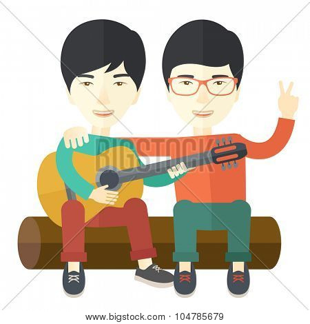 Two happy asian men  sitting on a log playing a guitar vector flat design illustration isolated on white background. Square layout.