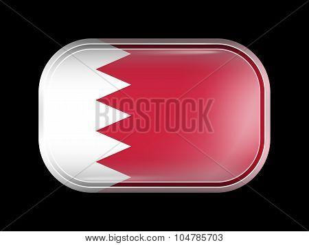 Flag Of Bahrain. Rectangular Shape With Rounded Corners