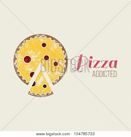 Pizza Addicted T-shirt Vector Design Or Logo Template