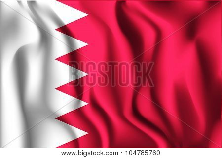 Flag Of Bahrain. Rectangular Shape Icon
