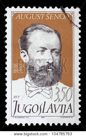 YUGOSLAVIA - CIRCA 1981: stamp printed by Yugoslavia, shows Croatian writer August Senoa, circa 1981