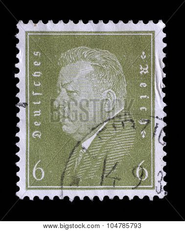 GERMAN REICH - CIRCA 1928: A stamp printed in the German Reich shows Friedrich Ebert (1871-1925), 1st President of the German Reich, circa 1928.