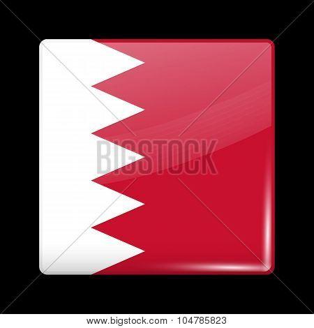 Flag Of Bahrain. Glassy Icon Square Shape