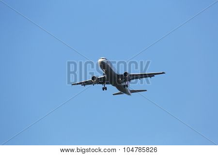 ZAGREB, CROATIA - JUNE 10: Airbus A320, registration D-AIPW of Germanwings landing on Zagreb Airport Pleso on June 10, 2015.