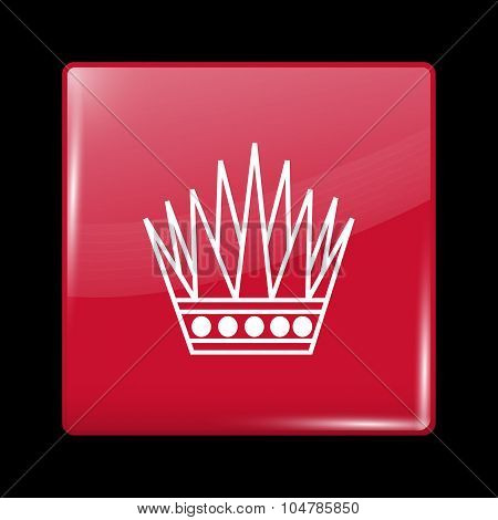 Variant Flag Of Bahrain. Glassy Icon Square Shape
