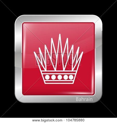 Variant Flag Of Bahrain. Metalic Icon Square Shape