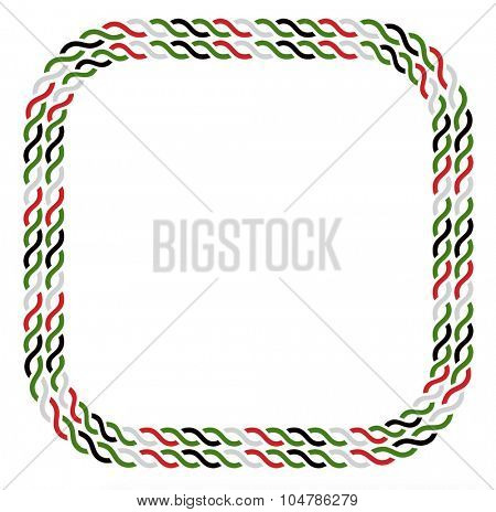 Border made with UAE national colors. Rope vector graphic in rectangular shape.