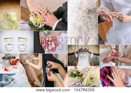 Wedding theme collage composed of different details  images