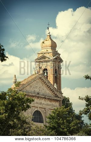Detailed view of a church tower in the Tuscan town of Montalcino