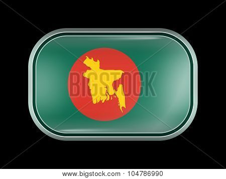 Flag Of Bangladesh With Map. Rectangular Shape With Rounded Corners
