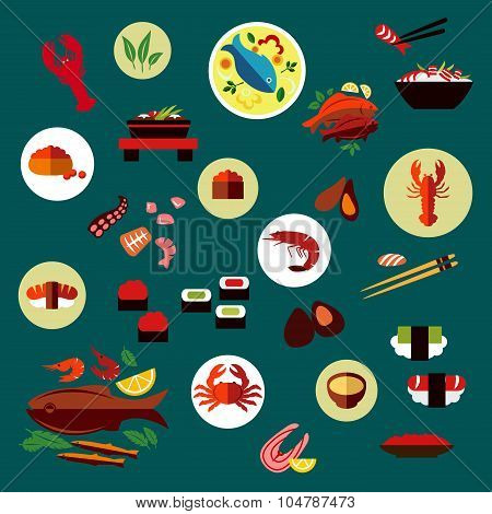 Seafood and delicatessen flat icons