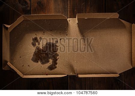 Remnants Of Pizza In Delivery Box With Pizza Time Text