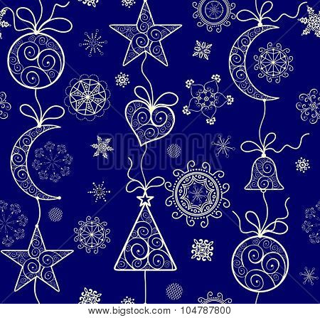Ornate Xmas wallpaper with golden lacy pattern