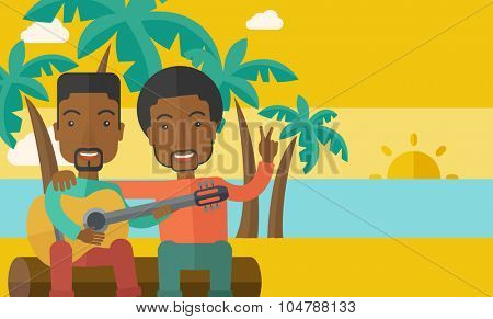Two happy african-american men  sitting on a log playing a guitar at the beach under palm trees vector flat design illustration. Horizontal layout with a text space.