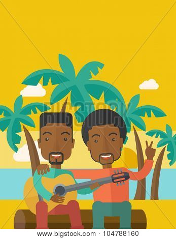 Two happy african-american men  sitting on a log playing a guitar at the beach under palm trees vector flat design illustration. Vertical layout with a text space.