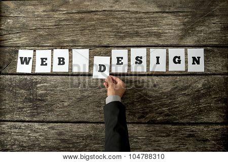 Overhead View Of Web Designer Assembling A Web Design Sign