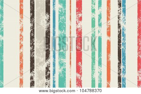 Retro Scratched Background - Color Lines With Different Width On Light Background
