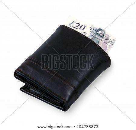 Twenty Pound Bank Banknote In Black Wallet. United Kingdom. Background.