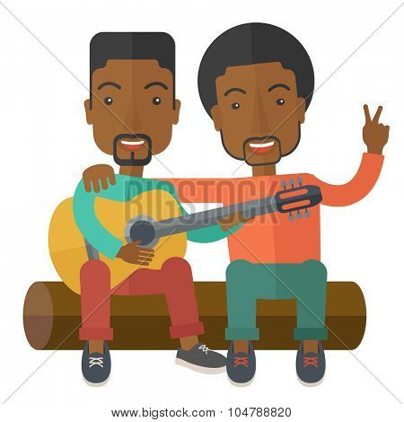 Two happy african-american men  sitting on a log playing a guitar vector flat design illustration isolated on white background. Square layout.