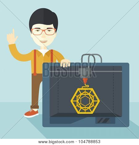 An asian man standing with 3D printer and a raised hand vector flat design illustration isolated on blue background. Square layout.