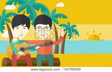 Two happy asian men  sitting on a log playing a guitar at the beach under palm trees vector flat design illustration. Horizontal layout with a text space.