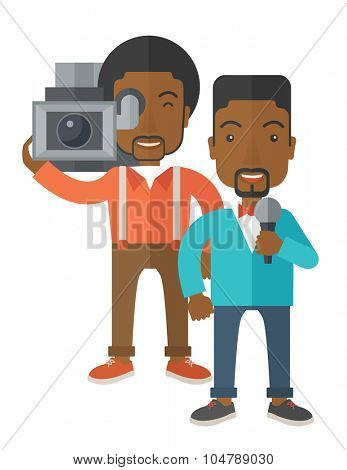 An african-american cameraman filming a reporter vector flat design illustration isolated on white background. Vertical layout.