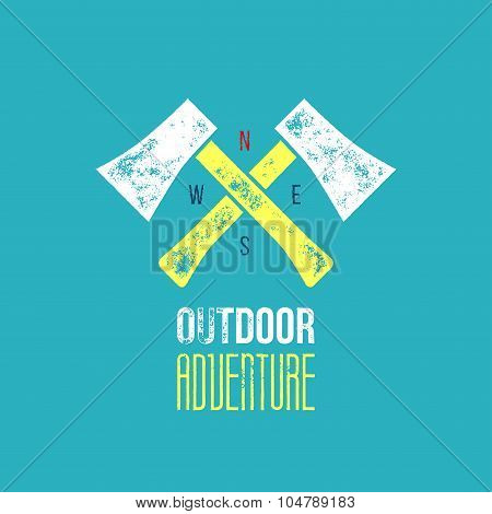 Outdoor Adventure T-shirt Logo Design - Vector Illustration