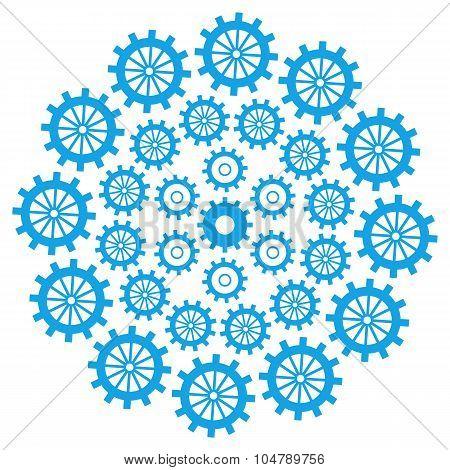 Gears Circular Blue
