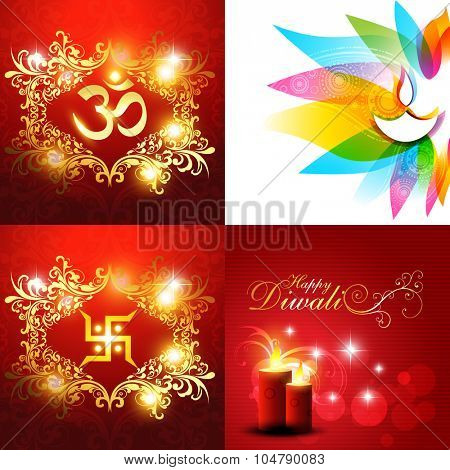 vector collection of beautiful background of diwali with diya and candles illustration