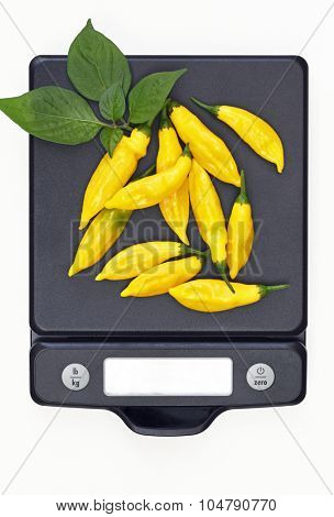 Hot Lemon Peppers on Scale