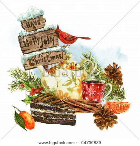 Christmas watercolor greeting card with sweet dessert