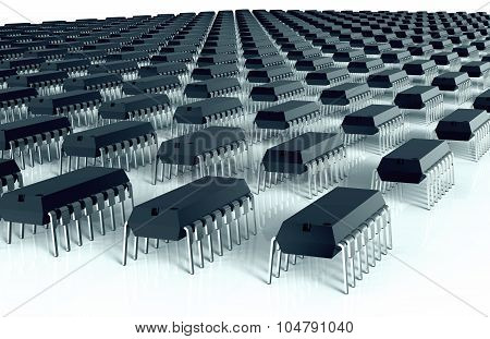 Computer Chips Aligned As An Army Of Bugs