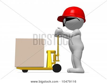 Workman With Red Hard Hat Pushing Pallet Truck
