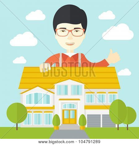 An asian real estate agent wearing glasses standing behind the house with thumbs up vector flat design illustration. Square layout.